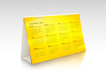 Gold calendar 2018 isolated on white