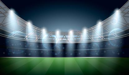 Soccer Stadium with spot light. Football Arena. Vector illustration.