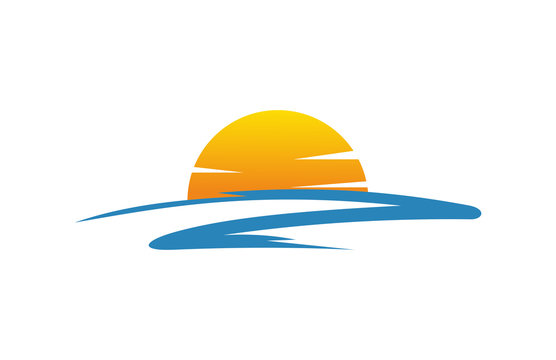 sunset in the beach icon