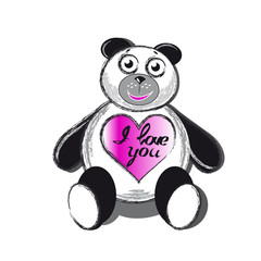 Panda bear with heart with inscription I love you isolated.