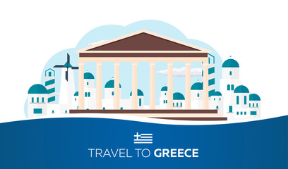 Poster Travel to Greece skyline. Acropolis. Vector illustration.