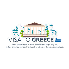 Visa to Greece. Document for travel. Vector flat illustration.
