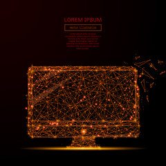 Abstract mash line and point computer in flames style on dark background with an inscription. Business computer of a starry sky or space, consisting of stars and the universe. Vector illustration