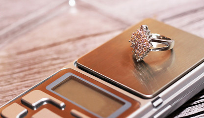 Tools of jewellery. Luxurious ring, women's object