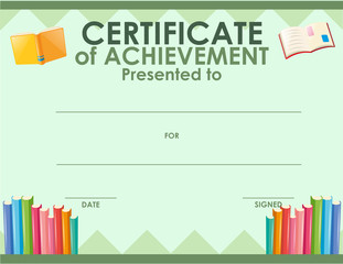 Certification template with many books