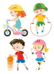 Kids doing different types of exercises