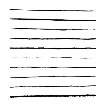 Set marker lines. Vector templets hand drawing brushes.