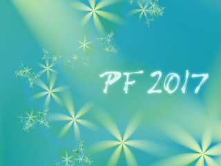 Green and teal PF 2017, good luck wishing card for New Year based on an elegant blended fractal background with simple flowers of different sizes and misty text. Peaceful, dreamy, calm, optimistic.
