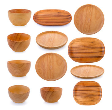 wood plate and bowl on white background