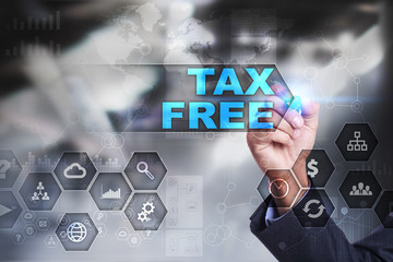 Businessman is drawing on virtual screen. tax free concept.
