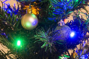 Ornament on the Christmas tree and LED lighting.