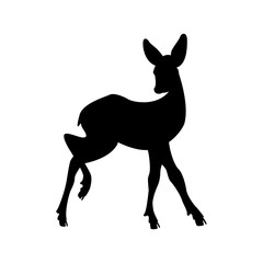 Deer young vector illustration  black silhouette