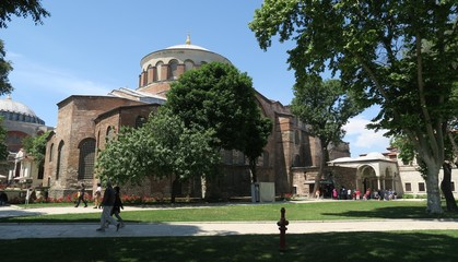 Famous Hagia Irene - a former Eastern Orthodox Church in Topkapi Palace Complex, Istanbul, Turkey