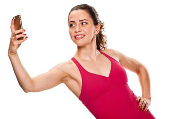 sporty Woman taking selfie