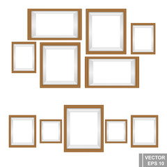 Set wooden photo frames isolated on white background.