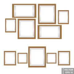 Set wooden photo frames isolated on white background.