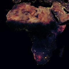 City lights on world map. Africa.