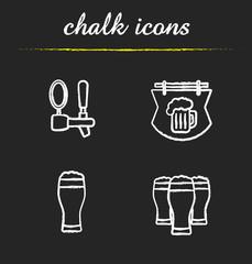 Beer pub chalk icons set