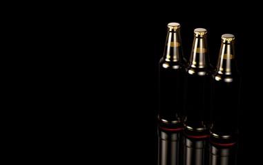 Close up bottles of beer on a black background. 3d illustration.