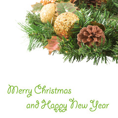 Christmas wreath on white background New Year