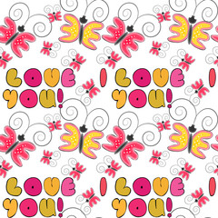 """""""I love you""""  romantic doodle lettering seamless pattern with retro themed halftones."""