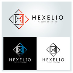 Hexelio logo design template ,Letter H logo design concept ,Vector illustration
