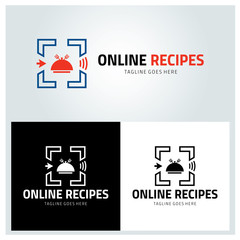 Online recipes logo design template ,Vector illustration