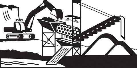 Gold mining wash plant - vector illustration