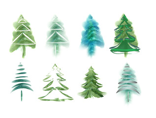 Watercolor fir trees