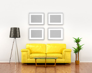 blank pictures on the white wall weigh over the yellow sofa. 3D