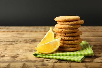 Lemon cookies on napkin on table