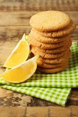 Lemon cookies on napkin, closeup
