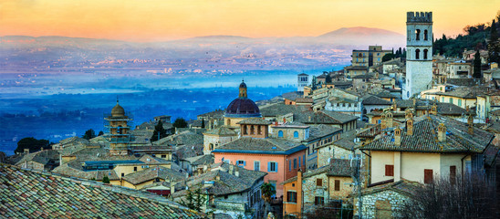Dawn over medieval town Assisi. Landmarks of Italy, Umbria