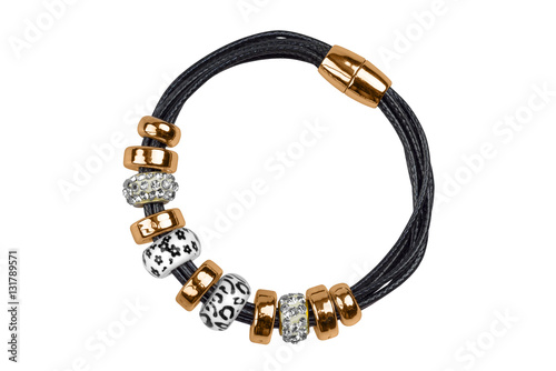 Black textile bracelet with golden rings and silver for 5 golden rings decorations