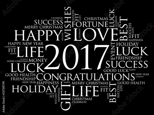 2017 year greeting word cloud collage happy new year celebration greeting card