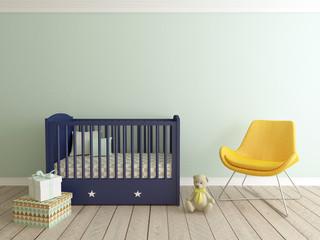 baby room interior, boy room, nursery