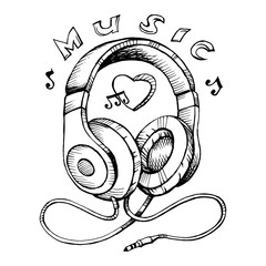 Headphones sketch vector illustration with musical notes