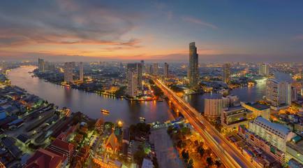 Wall Murals Bangkok U-Curve of Chao Phraya River, Bangkok, Thailand