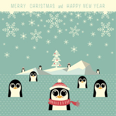 The cover design. The iceberg with christmas tree and nine penguins are in the water. On the top of the image the phrase merry christmas and happy new year.