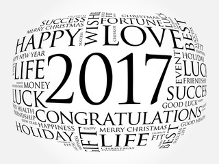 2017 year greeting word cloud collage, Happy New Year celebration greeting card