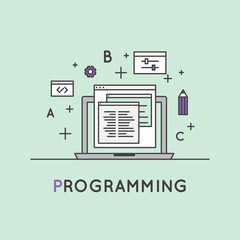Vector Icon Style Illustration of Programming and Wep Development or SEO Prcocess and Optimization