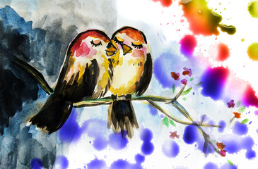 two cute birds - watercolor illustration