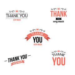 Collection of thank you typography designs. Vector illustration.