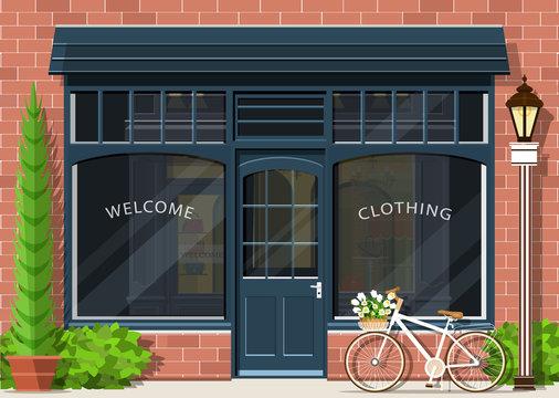 Graphic fashion shop facade. Stylish street store exterior design. Flat style vector illustration.