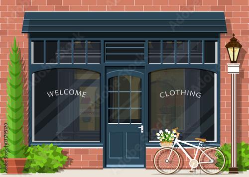 Graphic Fashion Shop Facade Stylish Street Store Exterior Design Flat Style Vector Illustration