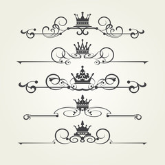 Vector set. Victorian Scrolls and crown. Decorative elements.