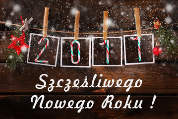 greeting card for new year 2017 in polish