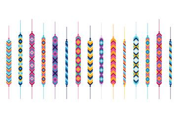 Set of friendship hippy bracelets. Multicolor vector illlustration