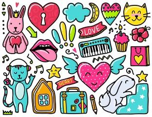 Doodles cute elements
