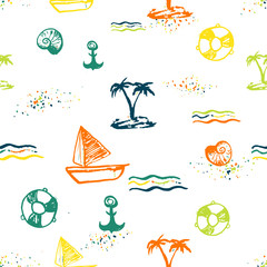 Summer Sea vacation bright seamless pattern design. Vector Background with Seashells, Sea waves, boats, palm trees and Sand. Hand Drawn Rough brush free Style. Perfect for clothes